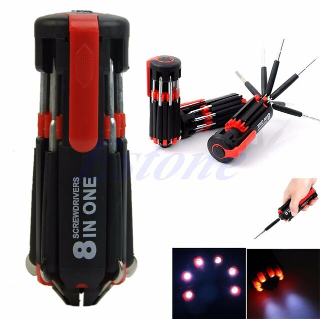 8 in 1 Multi Portable Screwdriver with 6 LED Torch Tools Light Up Flashlight UER