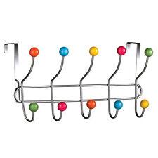 10 Ganci Multi Colore sopra la porta abiti appendiabiti Hanger RACK CHROME STAFFE