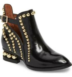 8eedfd4b4cd Jeffrey Campbell Rylance Black Box Gold Studded Cut Out Buckle Ankle ...