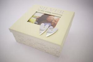 25th Argent Anniversaire De Mariage souvenirs souvenir Photo Safe Memory Box Cadeau-afficher le titre d`origine ZvcyoFxd-07224820-225940069
