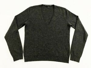 Ralph-Lauren-Black-Label-Womens-100-Cashmere-V-Neck-Pullover-Sweater-Gray-Sz-M
