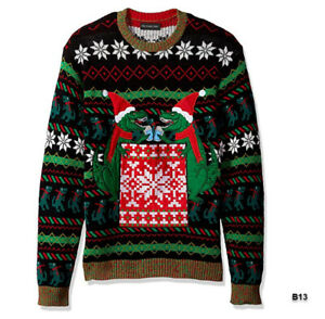 Blizzard-Bay-Men-039-s-Ugly-Christmas-Sweater-Drink-Pocket-Black-Green-Medium-B13