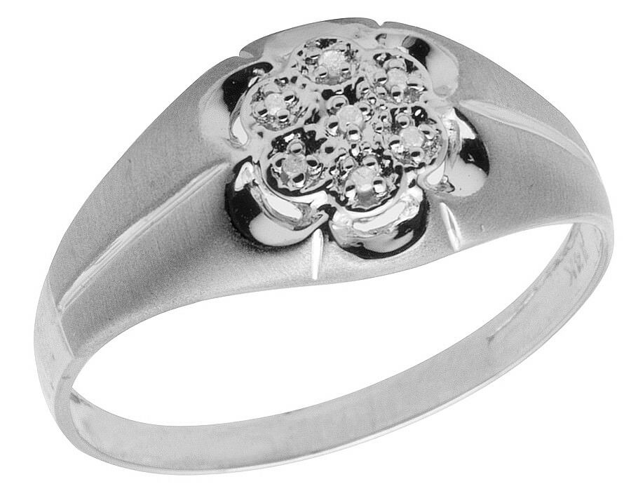 14K White gold Men's Real Diamond Matte Wedding Engagement Pinky Ring .04ct 10MM