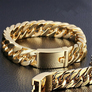 Fashion-Gold-Plated-Mens-Jewelry-Stainless-Steel-Curb-Cuban-Chain-Bracelet
