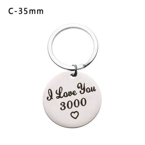 I LOVE YOU 3000 Keychain Stainless Steel 30mm Keyring Pendant for Lovers Gift