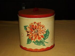 "VINTAGE  7 1/2"" HIGH FLOWERS TIN CAN"