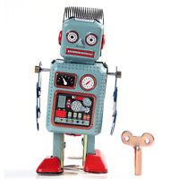 New Retro Mini Mechanical Clockwork Wind Up Metal Walking Robot Tin Toy Gifts CD