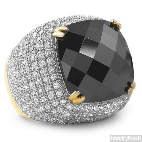 10 Carat Black Lab Made Onyx Gold Large Hip Hop Mens Ring