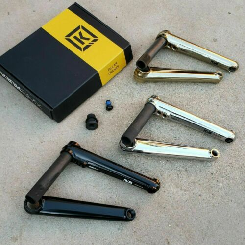 KINK PILLAR 24MM CRANK BLACK CHROME OR GOLD 2 PIECE BMX CRANKS FIT KINK PRIMO