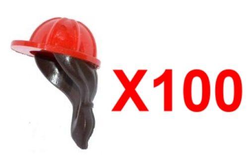 LEGO x100 GENUINE HEADGEAR HELMET CONSTRUCTION DARK BROWN PONYTAIL HAIR MOVIE SP