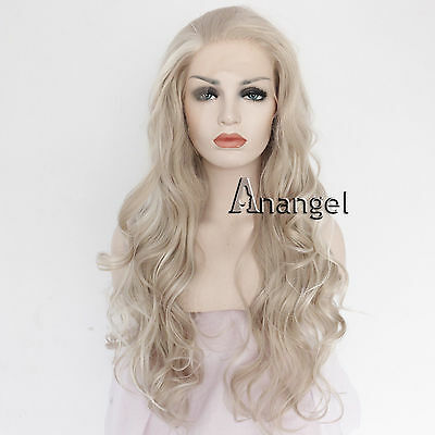 Synthetic Silver Grey Lace Front Wig Long Wavy Heat Resistant Hair Brazilian