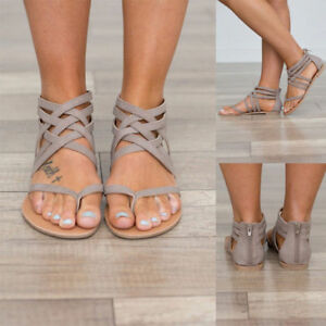 f156c32474b31 Image is loading Summer-Women-Flats-Ladies-Gladiator-Sandals-Flip-Flops-