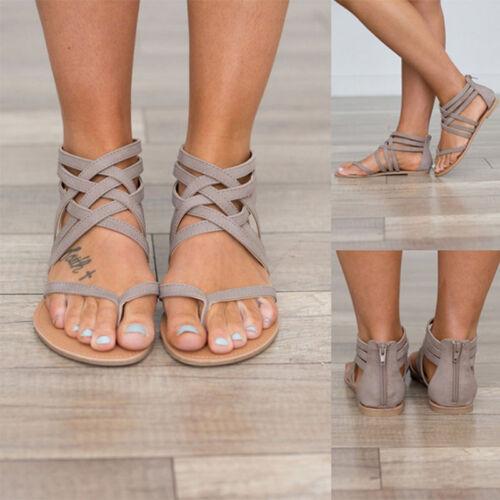 Summer Women Flats Ladies Gladiator Sandals Flip Flops Clip Toe Shoes Size Beach