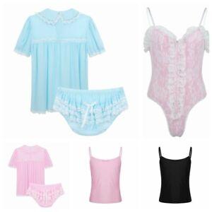 Men-Underwear-Sissy-Panty-Frilly-Dress-Lingerie-Outfit-Teddy-Bodysuit-Nightwear