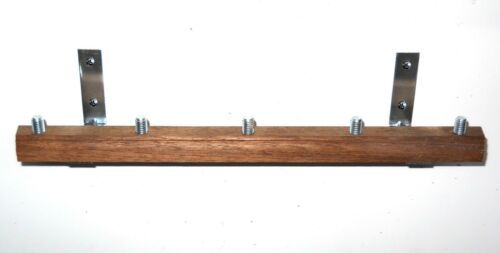 SOLID WALNUT WALL MOUNT BEER TAP HANDLE DISPLAY HOLDS 5 X2 LOT OF 2