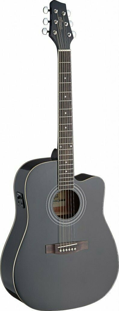 Stagg SA40DCFI-BK Dreadnought Cutaway Acoustic-Electric Guitar w FISHMAN Preamp