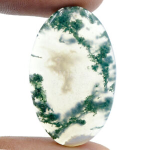 Cts-33-35-Natural-Landscape-Moss-Agate-Oval-Cabochon-Loose-Gemstone