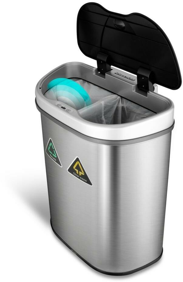 Motion Sensor Garbage Recycling Bin Compost Container 18.5 gal. Hands Free Open
