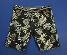 Plaza italia men shorts w32 46 tapared fit usati pants corto floreale blu T1599