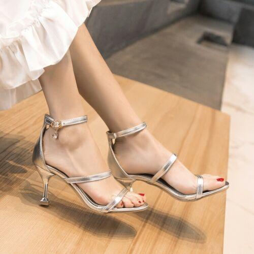 Fashion Sandales Femme Bout Ouvert Talon Aiguille Bride à Boucle Cuir Verni Chaussures