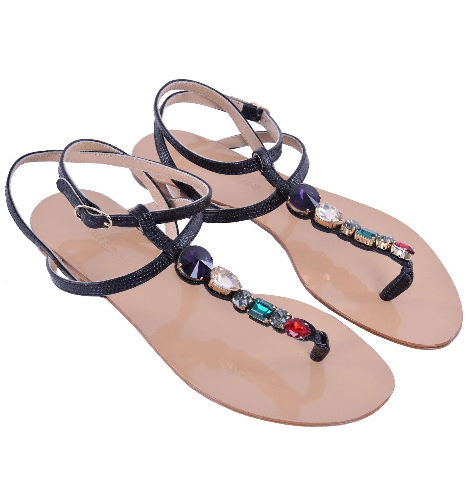 Dolce & gabbana de piel de serpiente sandalias flip-flops con cristales negro 05026