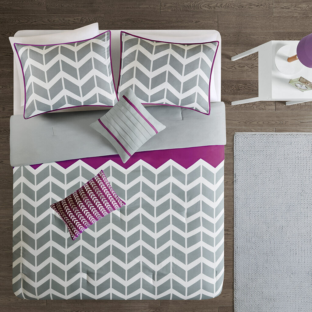 BEAUTIFUL SOFT lila grau Weiß CHEVRON SPORTY STRIPE COMFORTER SET & PILLOW