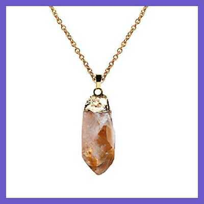 Raw Handmade 925 Silver Plated Stamped Citrine Crystal Pendant Necklace