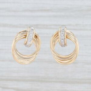 Diamond-Layered-Circles-Drop-Earrings-14k-Yellow-Gold-Pierced-Studs