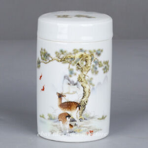 "5.1"" China Famille-rose Porcelain Pine Tree Deer Tea Canister Pot Kettle '福寿双全'"