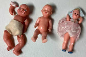 """Vintage 30s Celluloid Dolls Lot Of 3 Doll House Dolls 3"""" Tall"""