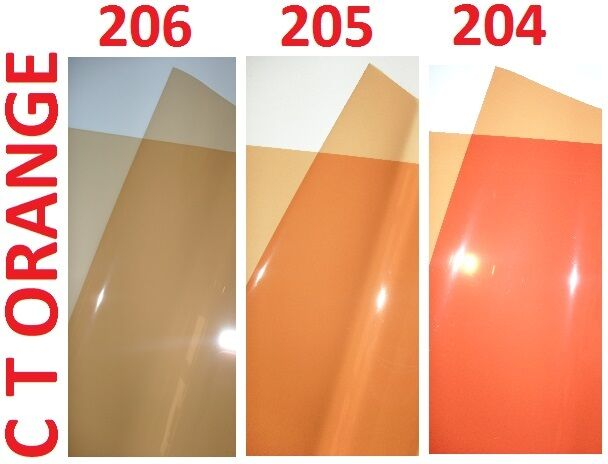"3 X CTO ORANGE Lighting Filter Gel Sheets 24"" x 24"" 204 205 206 1/4 1/2 FULL"