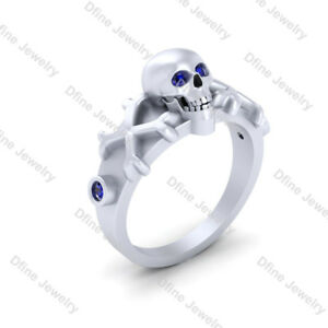 Blue Diamond Eyes Skull And Crossbones Wedding Ring Gift Gothic Engagement Ring Ebay