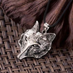 Wikinger-tibetischen-Silber-Wolf-Kopf-Anhaenger-Halskette-Amulett-Tier-Maen-hf-xj