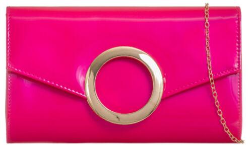 Glossy Ladies Elegant Circle Closure Patent Clutch Bag Wedding Party Handbag
