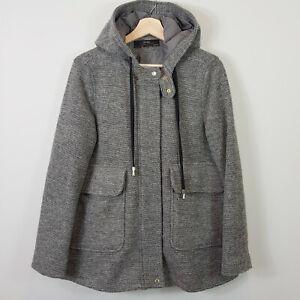 ZARA-Womens-Grey-Hooded-Zip-Coat-Jacket-Size-L-AU-14-or-US-10