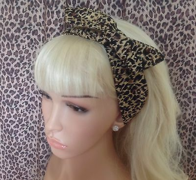 New BROWN LEOPARD ANIMAL PRINT COTTON BENDY WIRE HAIR WRAP WIRED HEAD BAND 50'S