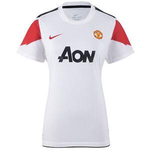 Détails sur Nike Manchester United Mufc Entraînement Haut T Shirt Blanc Femmes 382487 105