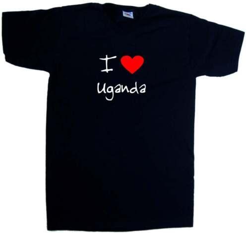 I love coeur Ouganda col en V T-shirt