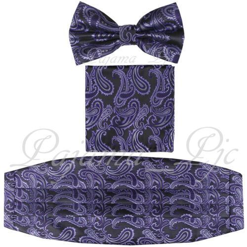 Brand New Paisley Purple Black Cummerbund And Bowtie /& Pocket Square Hanky Set