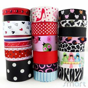 20Yards-Assorted-Grosgrain-Ribbon-Lot-20-Styles-3-8-034-1-5-034-Black-Red-Theme-Craft