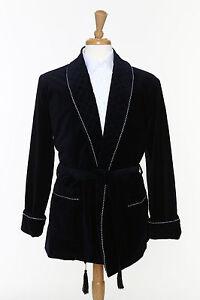 nouveau style de vie comparer les prix bons plans sur la mode Details about Mens Smoking Jacket - NAVY Velvet - Smoking Robe - Fully Lined
