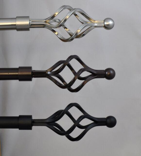 """3//4/"""" Diam Urbanest Artichoke Finial Single Window Treatment Rod Set Black rod"""