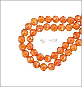 Cubic Zirconia Faceted Round Beads 6mm 8pc Fire Opal #64101