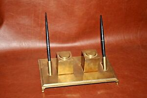 Vintage-Italian-Brass-9x5-034-Rectangular-Double-Desk-Pen-Inkwell-Sarried-LTD