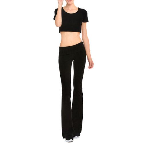 Womens Foldover Yoga GYM Athletic Fitness Soft Comfy Stretch Flare Leg Pants