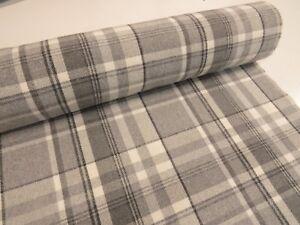 DOVE-GREY-CHECK-Balmoral-Wool-Effect-Tartan-Upholstery-Curtain-Fabric