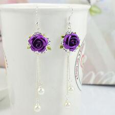 Silver Plated Purple Rose Crystal Cluster Pearl Tassels Charms Dangle Earrings
