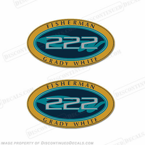 Decal Reproductions in Stock Grady White Fisherman 222 Logo Decals Set of 2