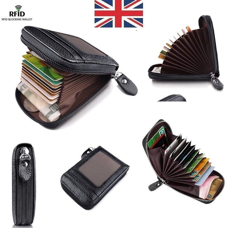 Unisex Lady Men Wallet Credit Card Case Holder Leather RFID Blocking Zip Pocket