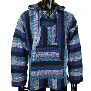 L capuche Festival à froides XL mexicain bleues Haut Sweat Hippie Jerga Baja rayures Sz XL M à jLS34Rqc5A